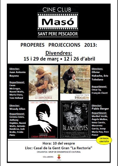 Cine Club Masó: Temporada de Cinema 2013